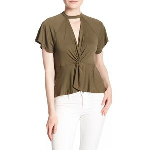 free people olive green choker twist t shirt